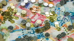 Philippine money, coins and bills closeup rotation. - stock footage