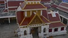 Bangkok twilight temple roof top panorama 4k thailand Stock Footage