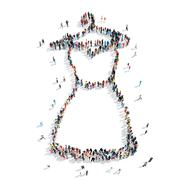 group people woman dress - stock illustration
