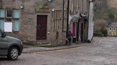Alston north England old cobblestone town center road 4K Stock Footage