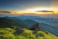 Sunset over new territories in hong kong - stock photo
