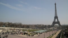 The Eiffel Tower (Tour Eiffel) & Trocadero Gardens - Paris, France Stock Footage