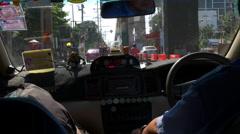 Sunny day city taxi ride backside passengers view 4k bangkok thailand Stock Footage