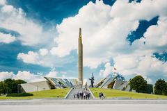 Monument Near Building Belorussian Museum Of The Great Patriotic - stock photo