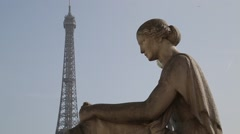Trocadero Statue & The Eiffel Tower (Tour Eiffel) - Paris, France Stock Footage