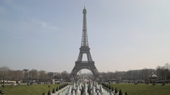 The Eiffel Tower (Tour Eiffel) and Trocadero Gardens - Paris, France Stock Footage