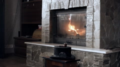 Fire in a fireplace - stock footage
