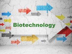 Science concept: arrow with Biotechnology on grunge wall background - stock illustration