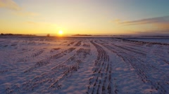 Winter landscape. Low altitude.  Aerial footage. Sunset. Stock Footage