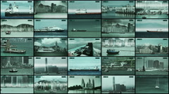 CCTV 5x5 split screen security monitoring and recording the ships, boats. Stock Footage