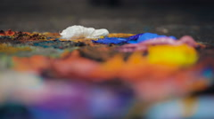 Artists oil paints multicolored closeup abstract Stock Footage