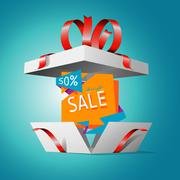Special offer in a gift box - stock illustration