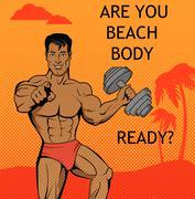 Fitness Boy. Beach Body Ready Design - stock illustration