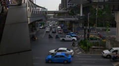Twilight city traffic street crossroad bridge panorama 4k bangkok thailand Stock Footage
