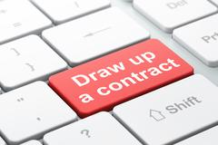 Law concept: Draw up A contract on computer keyboard background Stock Illustration