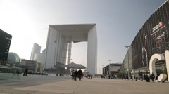 Grande Arche / La Défense (Business District) /CNET - Paris, France Stock Footage