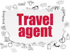 Tourism concept: Travel Agent on Torn Paper background Stock Illustration