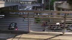 Bridge walk traffic crossroad street panorama 4k bangkok thailand Stock Footage