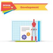 Developing Solution Design Flat Stock Illustration