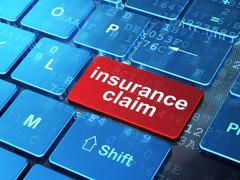 Stock Illustration of Insurance concept: Insurance Claim on computer keyboard background