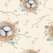 Watercolor natural floral vintage seamless pattern with nests,wr Stock Photos