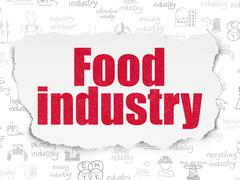 Industry concept: Food Industry on Torn Paper background - stock illustration