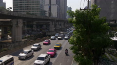 Sunny day traffic downtown street metro line 4k bangkok thailand Stock Footage