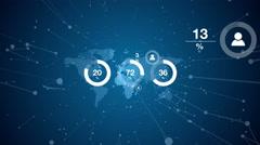 Worldwide global population infographics visual aid Stock Footage
