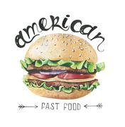 Watercolor illustration with fast food . Burger Poster Stock Photos