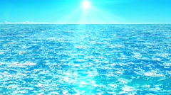 Flight over azure water of sea, animation above the sea waves facing the sun Stock Footage