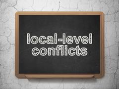 Political concept: Local-level Conflicts on chalkboard background - stock illustration