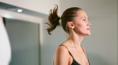 Closeup of a running girl in fitness hall Stock Footage