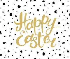 Happy Easter lettering. Typographical Background with decoration - stock illustration