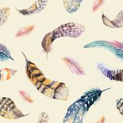 Stock Photo of Feathers repeating pattern. Watercolor background with seamless