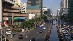 Sunset time main city traffic street road panorama 4k bangkok thailand Stock Footage