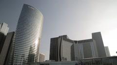 Looking up at La Défense (Business District) - Paris, France Stock Footage