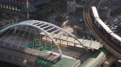 City famous crosswalk bridge metro line roof top panorama 4k bangkok thailand Stock Footage