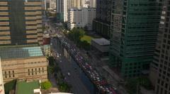 City centre main traffic street roof top panorama 4k bangkok thailand Stock Footage