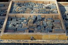 antique wooden letters - stock photo