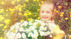 Happy girl and huge bouquet of white flowers. Thumb up. Ok Stock Footage