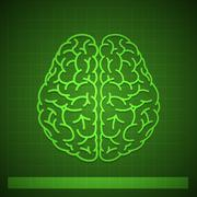 Human Brain Concept on Green Background Stock Illustration