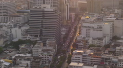 City centre traffic street sunset time roof top panorama 4k bangkok thailand Stock Footage