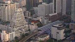 Sunset time city centre silom block roof top panorama 4k bangkok thailand Stock Footage