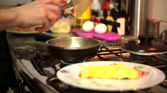 Cooking Omelet Stock Footage