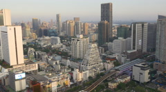 sunset light silom block metro line roof top panorama 4k bangkok thailand - stock footage