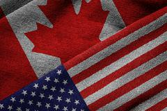 Flags of USA and Canada on Grunge Texture Stock Photos