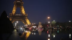 The Eiffel Tower at Night - Paris, France Stock Footage