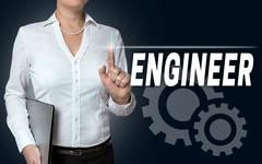 engineer touchscreen is served by businesswoman - stock photo