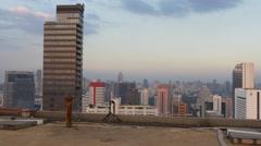 Capital city downtown roof top twilight sunset panorama 4k bangkok thailand Stock Footage