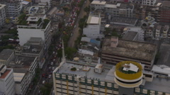 City downtown roof top television antenna 4k bangkok thailand Stock Footage